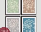 Dandelion Flower (Series A) Set of 4 - Art Prints (Featured in Veranda Cappucino, Silver Cloud and Blue Linen) Colors Customizable