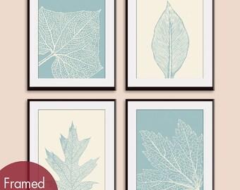 Leaf Botanicals (Series A) Set of 4 - Art Prints (Featured in Slate Blue and Soft Cream) Modern Botanical Leave Art Print