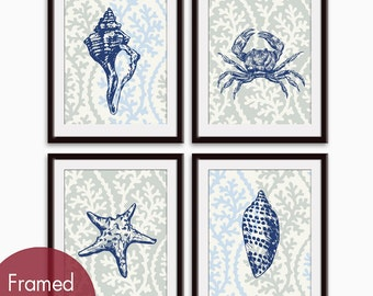 Nautical Sea Life (Series A) - Set of 4 - Art Prints - (Featured in Deep Blue on Fog Grey and Beach Blue) Nautical Art Prints / Posters