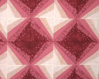 Star Quilt in shades of Pink and Cranberry Burgundy for Baby Girls