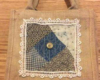 BURLAP Tote with Antique Quilt Pieces and Vintage Lace and Button Decoration Navy OFG RDT