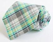 men's aqua, gray, and lime madras plaid necktie