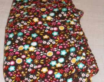 Chocolate Brown Flowered Knit Fitted Baby Crib Sheet