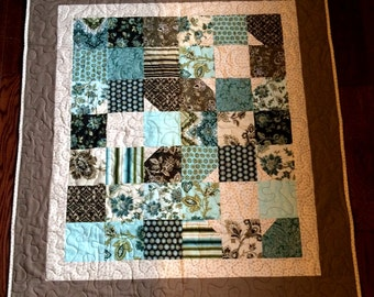Brown and Teal Baby Quilt - Minky Back