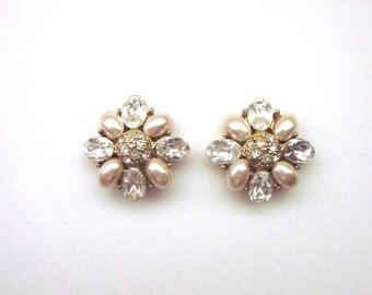 Vintage Pearl and Paste Rhinestone Earrings Post Back Wedding Jewelry