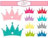 ON SALE Princess clipart - tiara clip art , Instant download Digital clip art, crown clipart, hot pink, navy blue, red, teal, clip art