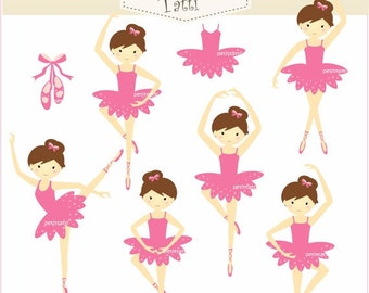 Ballet Clipart' _ Ballerina Clipart. Tutu clip art,Little Ballerina,Princess Ballet,instant download,small commercial use,ON SALE