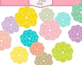 ON SALE Flowers Clip Art _ Bloom Summer Flowers Clip Art,Instant download, Summer Flower 3 ,Digital clip art flowers pink blue Yellow