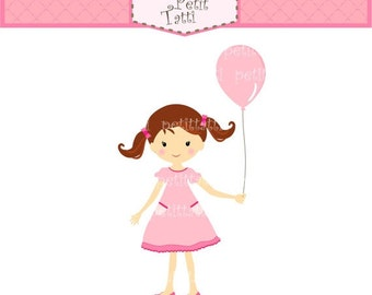 ON SALE girl clip art, Digital clip art, Girl with balloon, Birthday girls, INSTANT Download Digital clip art