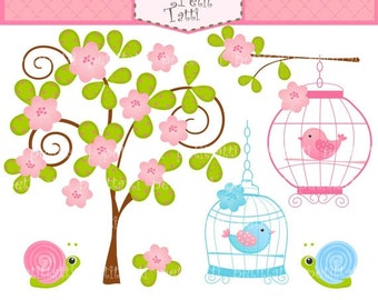 ON SALE Bird clip art -  Digital clip art, Birdcage and flowers tree, tree clip art, Birds clip art, flowers clip art, birdcage clipart, sna