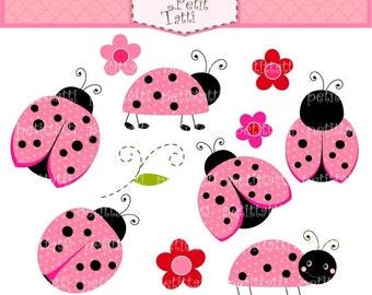 ON SALE Ladybug clip art - pink clipart, Digital clip art  for all use, Pink Ladybug clip art