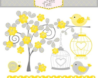 ON SALE Bird clip art Digital clip art Birdcage and