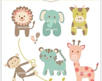Soft Color Baby Animal Clip Art _ ON SALE. Animal Digital Clip Art, baby animals safari , zoo clip art, instant download