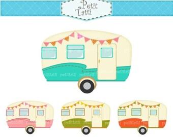 ON SALE vintage caravan clipart., car clipart, retro caravans clipart, campervan clipart, vintage camper clipart , scrapbooking