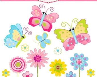ON SALE Flower clip art - Butterfly clip art - instant download clip art, Butterfly and flowers, pink butterfly