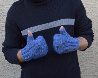 Knit men's fingerless gloves Glacier blue 100% wool gift for men