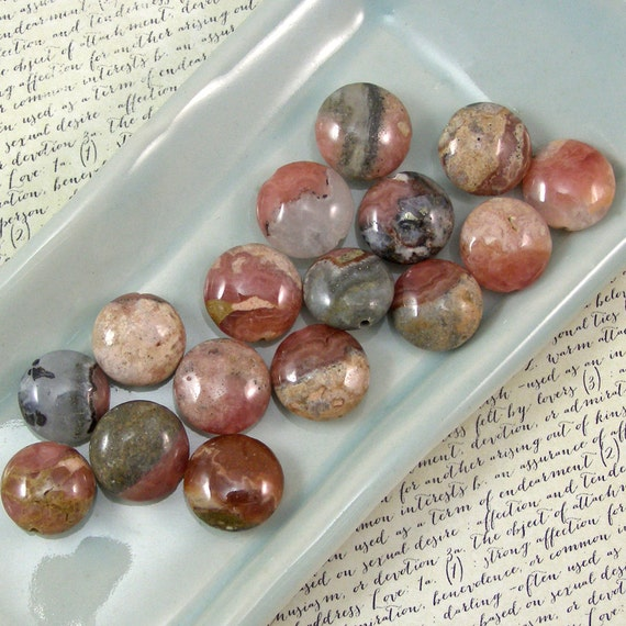 Rhodocrosite 13mm Coin Beads 60% off, qty 16