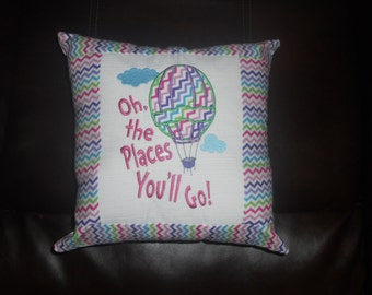 Dr. Seuss - Oh the Places You'll Go (Pastel Chevron) - 14 inch Square Throw Pillow  (COVER ONLY)