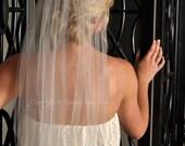 Veil - Crystal Veil, Scattered Swarovski Crystals, Fingertip Wedding Veil Raw Edge - Ivory, White, Diamond White, Champagne