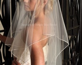IVORY Veil - Cascade Veil, Beaded Veil, Two Tier Wedding Veil with Beaded Edge - Elbow Length - READY to SHIP