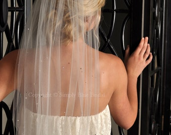 Fingertip Veil - Crystal Veil, Scattered Swarovski Crystals and Raw Edge - Ivory, White, Diamond White, Champagne, Blush