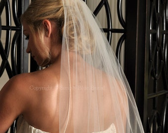 Pearl Veil, Wedding Veil Elbow Length - White, Diamond White, Light Ivory, or Ivory