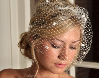 IVORY Bircage Veil - Russian Dot Net Bridal Birdcage - READY to SHIP