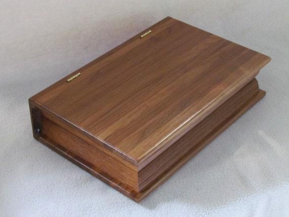 Handcrafted Teak Exotic Wood Faux Book Box w/ Hidden Storage