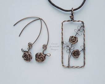 Sleeping Beauty necklace and earrings, bronze roses, solid bronze jewelry, rose jewellery, bronze jewelry