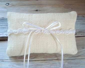 Ringbearer pillow in ivory burlap with white beaded trim
