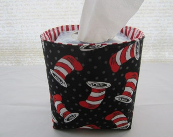 Mini Baskets Fabric Storage Organizer Bins - Dr Seuss Black hats - Tissue Holder -