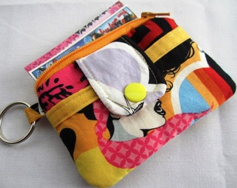 Zipper Mini Wallet Pouch Key Chain Card holder - Girl Glasses