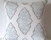 Pale blue damask decorative pillow cover - Premier Prints Monroe Slub Snowy - blue and white medallion accent pillow cover