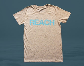 The REACH / ESCAPE Parkour T-Shirt - Duck Egg Blue Print on Natural Speckled