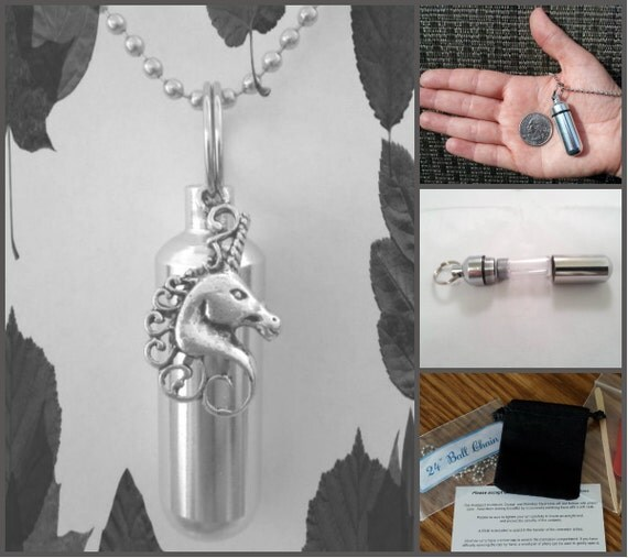 "COMPLETE SET - Cremation Urn & Vial on 24"" Necklace - with large UNICORN - Custom Hand Assembled....w/Velvet Pouch and Fill Kit"