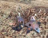 large copper moon and star riveted earrings