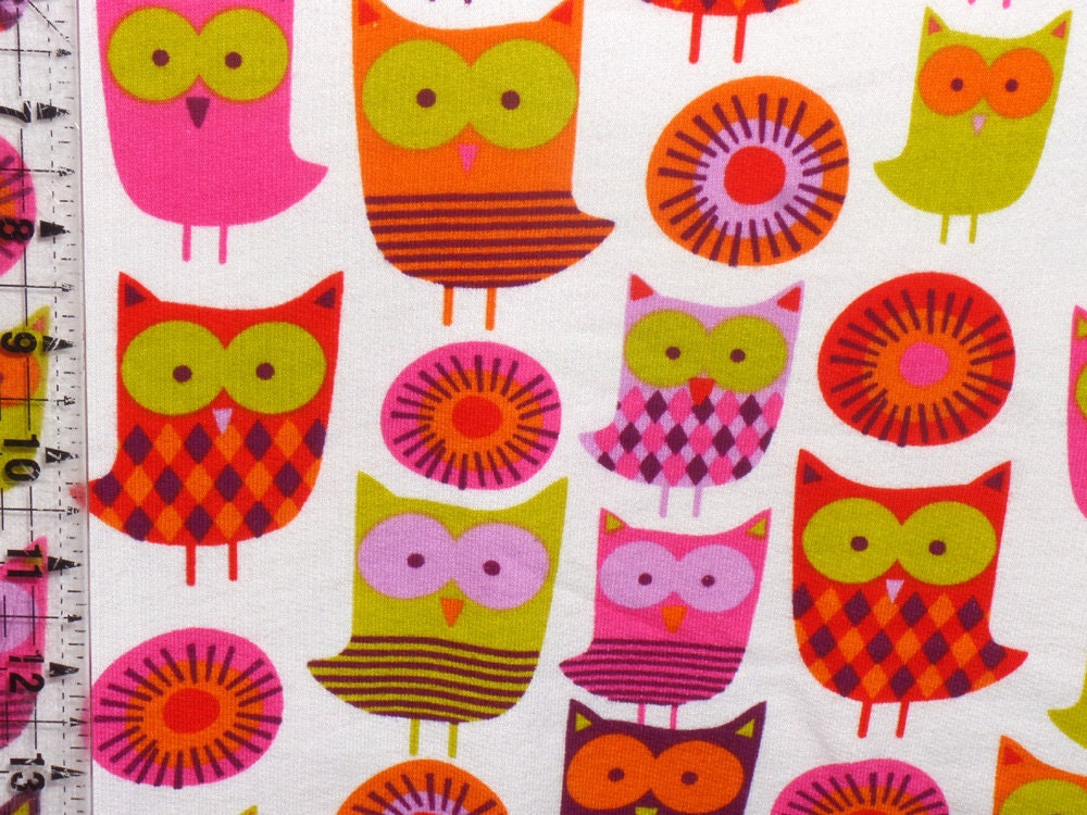 Kids cotton knit fabric bright owls in lime orange pink for Kids knit fabric