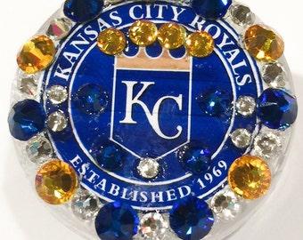 Kansas City Royals Swarovski Crystal Embellished Swivel-Back Retractable ID Name Tag Badge Reel