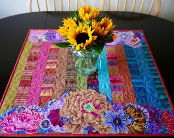 MarveLes FESTIVE FIESTA #1 Floral Collage Quilted Table Topper Runner Home Decor Stripes