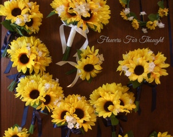23 Pc. Sunflower Bouquet Package, FFT Original Design, Yellow Blue Silk Wedding Flowers Rustic Woodland Shabby Chic Made to Order