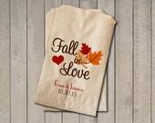 Wedding Favor Bags, Fall in Love Favor Bags, Personalized Wedding Candy Bags, Fall Wedding Candy Buffet Bags - Fall Colors
