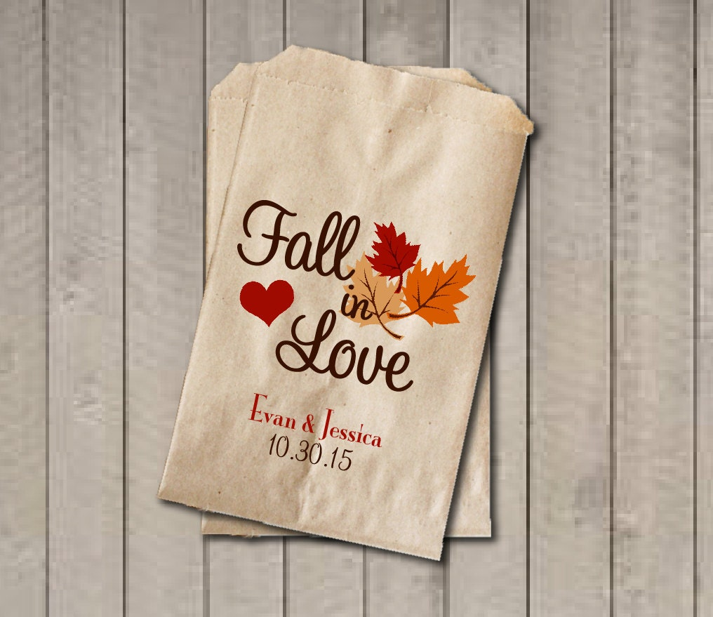 Wedding Favor Bags Fall in Love Favor Bags Personalized