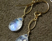 SPRING SALE 30% OFF Faceted Blue Moonstone and 14kt Gold Fill Textured Drop Earrings