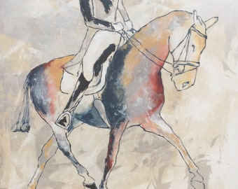 Show Horse 1 - Large 30x30 Original Acrylic Canvas Painting, Abstract show horse