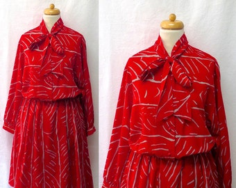 1970s Vintage Henry Lee Tie-Neck Dress / Red & Grey Abstract Striped Dress