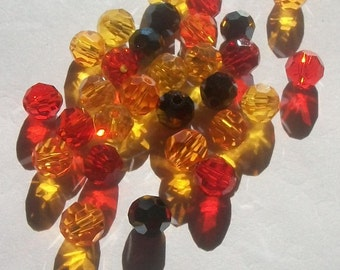 Round beads mix 6mm Celestial crystal faceted beads Fire Mix -- 60 beads per lot