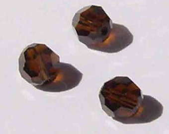 Clearance 8mm Swarovski ROUND style 5000 Crystal Beads MOCCA dark brown -- 12 pieces
