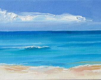 Calm Seas, Framed 5 x 7 (13 x 18 cm) oil painting on Canvas board. Yvonne Wagner. Sea. Meer. Seeluft. Plage. Beach.