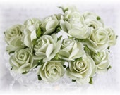 Mulberry Roses~Pale Lime~ Set of 20 for Scrapbooking, Cardmaking, Altered Art, Wedding, Mini Album