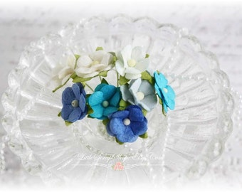 Mulberry Flowers~Sweetheart  Blossoms Blues~ Set of 10 for Scrapbooking, Cardmaking, Altered Art, Wedding, Mini Album